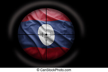 Laotian Target - Sniper scope aimed at the Laotian flag
