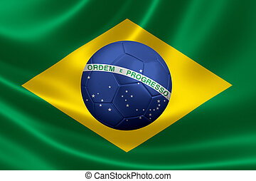Brazilian Flag With Ball in Center - 3D rendering of a satin...