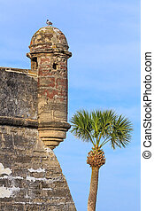 Spanish Fort Watchtower - Round sentry turrets overhang the...