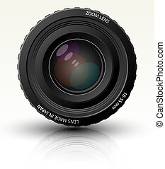 Photo realistic dslr camera lens. Full editable vector...
