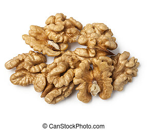 walnut half heap on white background. with clipping path