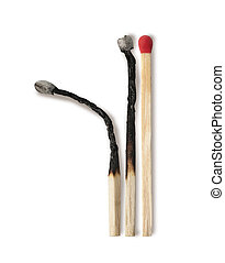 Close-up of a red match isolated on a white background