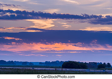 Sunset along old dyke - sunset along old dyke in Netherlands...