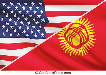 Series of ruffled flags. USA and Kyrgyz Republic. - Flags of...