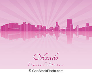 Orlando skyline in purple radiant orchid