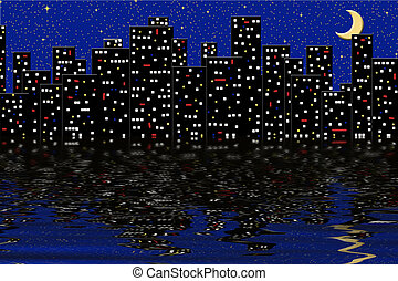 City Lights - Graphic city lights reflecting on water