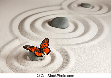 Zen rocks with butterfly - Sand background with stones and...