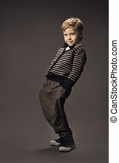 child boy fashion studio portrait, kid smart casual...