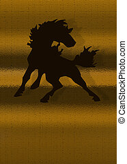 Stallion Graphic - Stallion graphic in silhouette golds and...