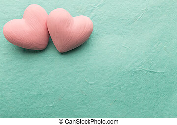 Pink heart. - Pink heart on the wooden background. Provencal...