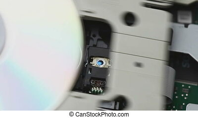 CD reader inside view: inserting, reading and ejecting the...