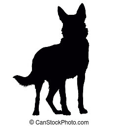 German Shepherd Silhouette - A black silhouette of a...