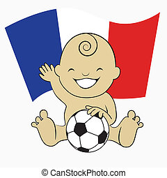 Baby Soccer Boy with France Flag Background :cartoon...