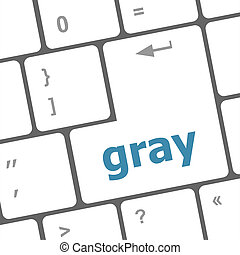 Computer keyboard keys with gray word on it