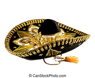 Mexican Ornate Hat - Black with gold ornate trim Mexican hat