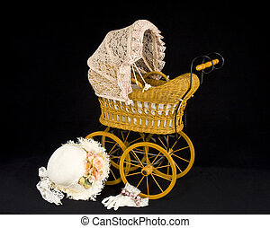 Childs Doll Old Buggy - Childs old fashioned doll buggy and...