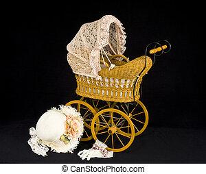 child\'s, carrozzino, vecchio, bambola