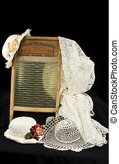Vintage - Old vintage items including washboard,lace,hats