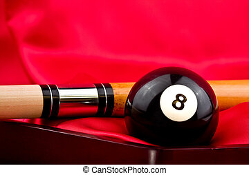 Billiards - Pool game accessories including eight ball,cue...