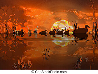 Duck Print - Digital print of ducks taking a night swim in...