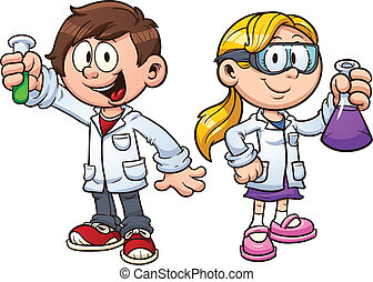 Science kids - Scientist kids Vector clip art illustration...