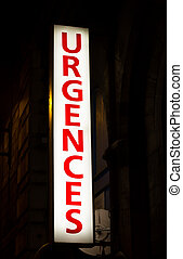 Emergency Sign in Paris at Night