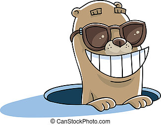 Groundhog Sunglasses - A happy cartoon groundhog pokes its...