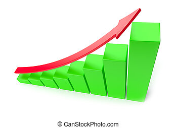 Green growing bar chart with red arrow business success concept
