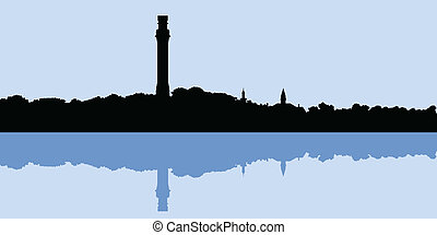Provincetown Skyline - Skyline silhouette of Provincetown,...