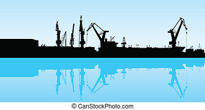 Shipping Port - Cranes working at the port in Veracruz,...