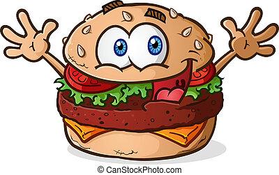 Hamburger Cheeseburger Cartoon - A smiling happy...