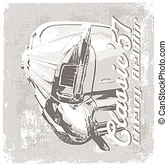Classic chevy 1957 - vintage classic car vector for T-shirt...