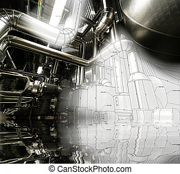 Industrial factory with sketch and reflection