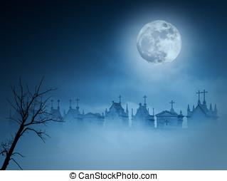 Foggy cemetery - Old european cemetery in a foggy full moon...