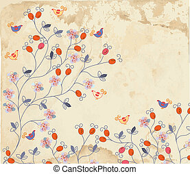 Floral background on paper texture with roses and birds