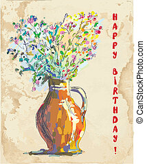 Birthday card with flowers and vase retro design