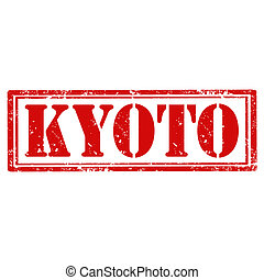Kyoto-stamp - Grunge rubber stamp with text Kyoto,vector...