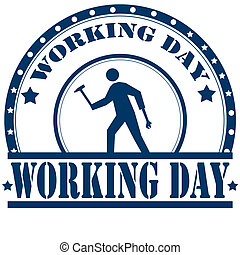 Working Day-stamp - Rubber stamp with text Working...