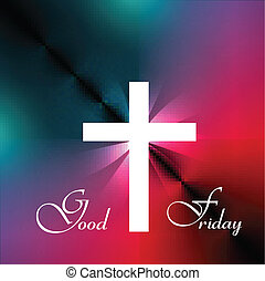 Good Friday Beautiful background Cross for colorful vector...
