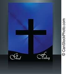 Good Friday colorful brochure template for Jesus cross...