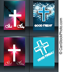 Good Friday brochure template collection card for Jesus...