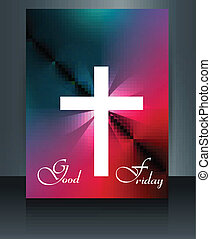 Beautiful brochure colorful template Cross for Good Friday...