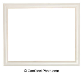 simple white painted wooden picture frame with cut out...
