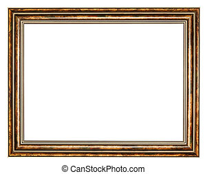 vintage classic brown wide wooden picture frame with cut out...