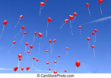vermelho, Coração, balões, céu