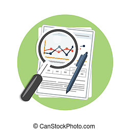 Magnifying glass, pen and chart Business concept of...