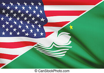 Series of ruffled flags. USA and Macao Special...