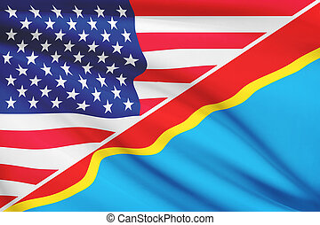 Series of ruffled flags. USA and Democratic Republic of the...