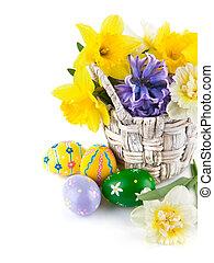 バスケット, 春, 卵, 花, イースター