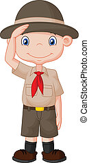 Young boy scout cartoon doing a han - Vector illustration of...